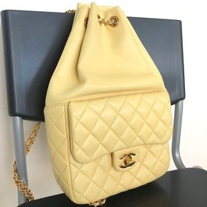 Chanel Small Yellow Backpack In Seoul Lambskin